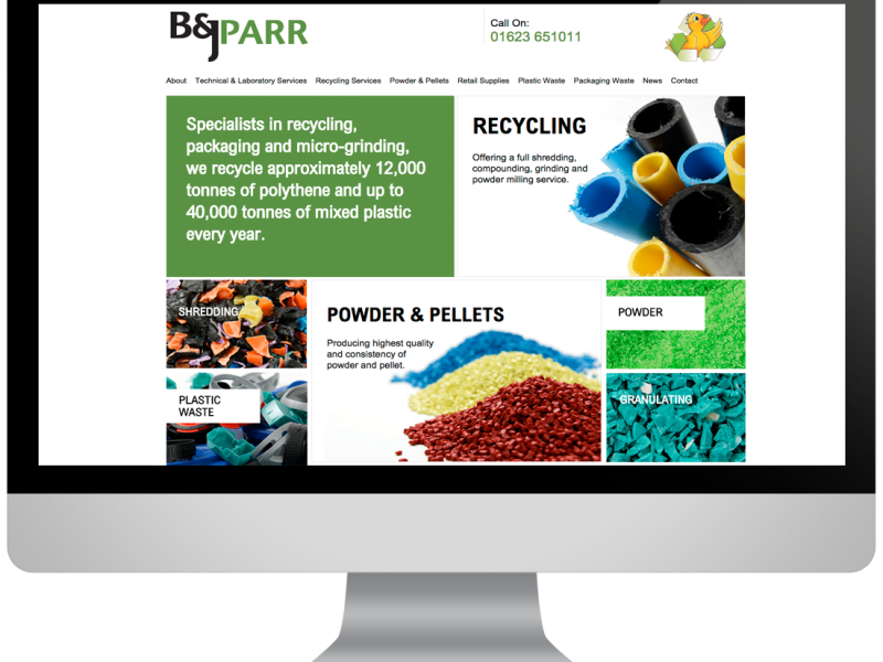 web design of BJ Parr home page