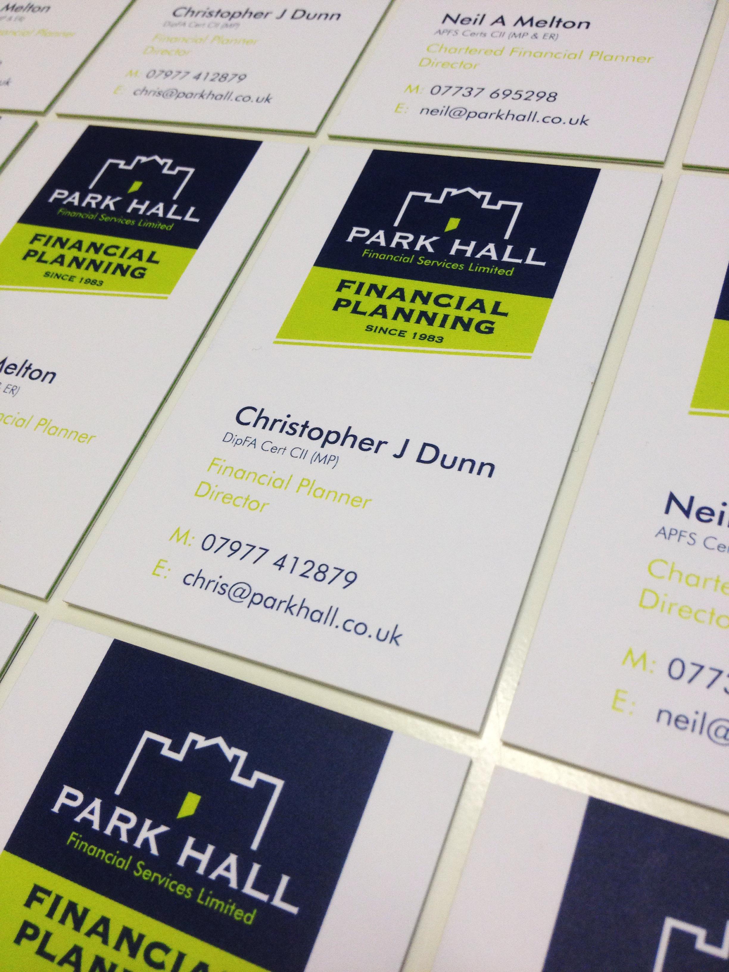 design & printof business cards for Park Hall
