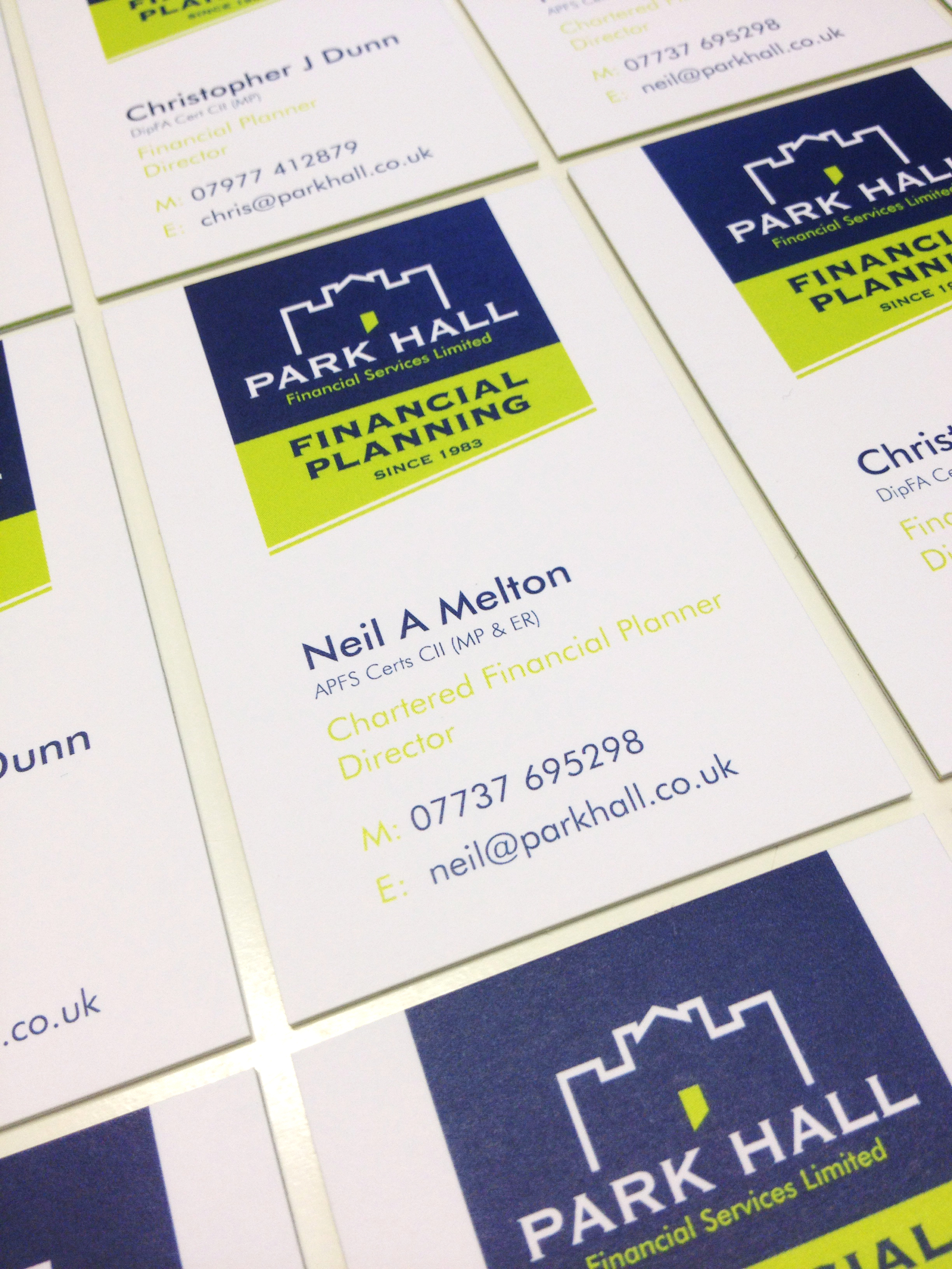 Close up of business card design for park hall