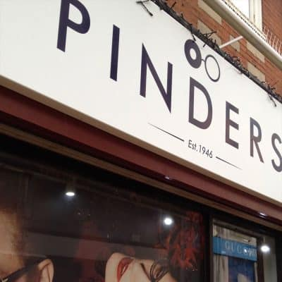 Pinders Opticians new branding outside one of their shops