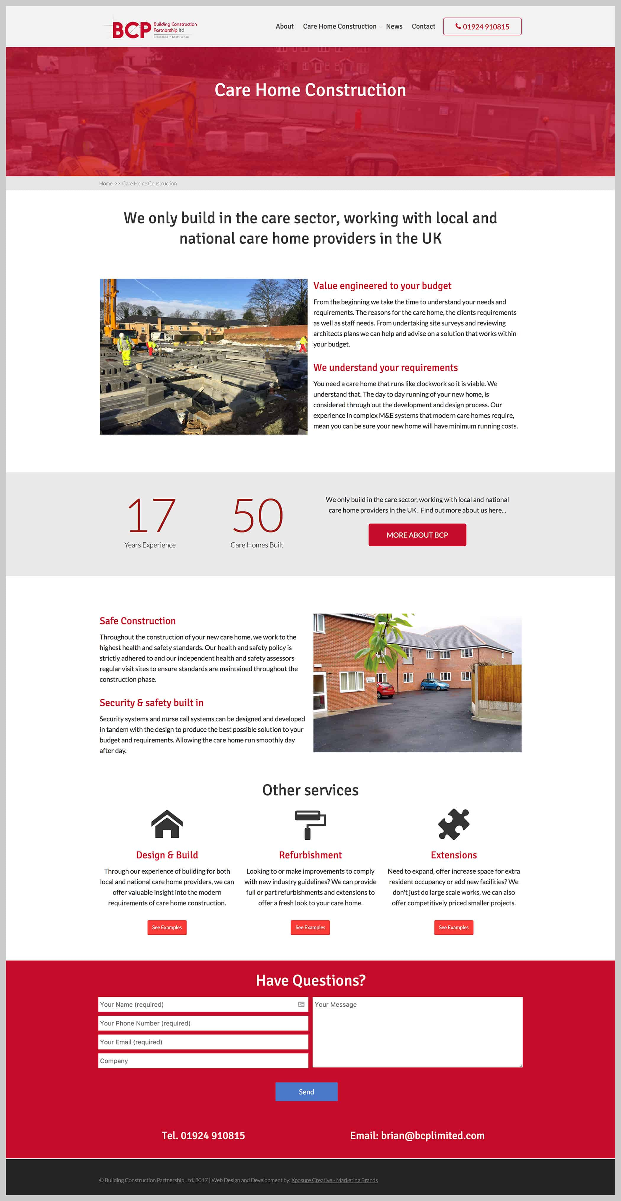 bcp care home construction website page