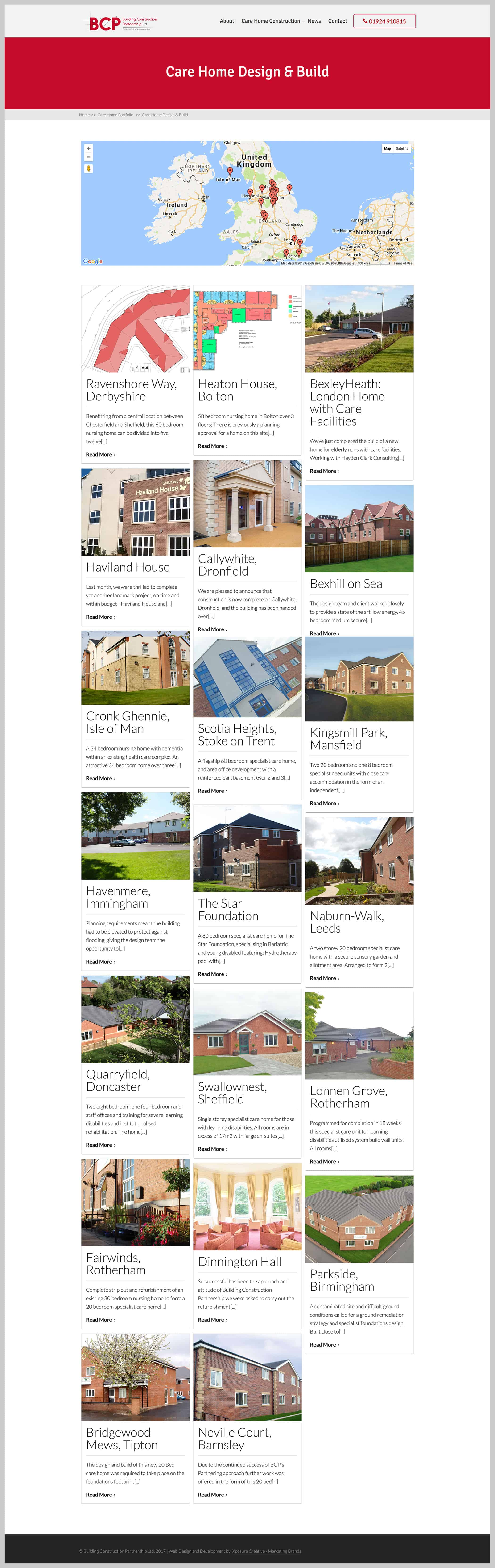 bcp portfolio website page for design and build