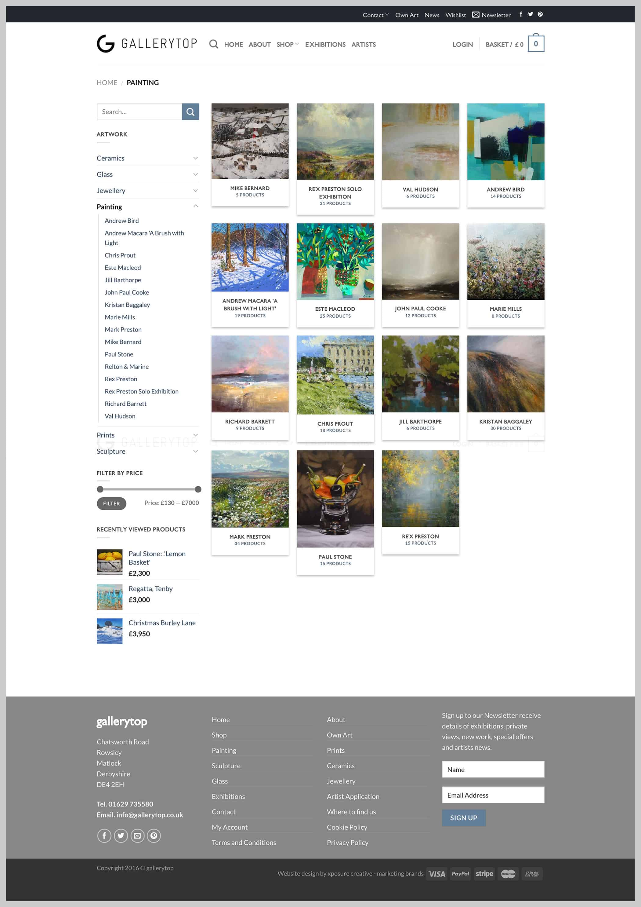 Gallery Top Website Paintings page design