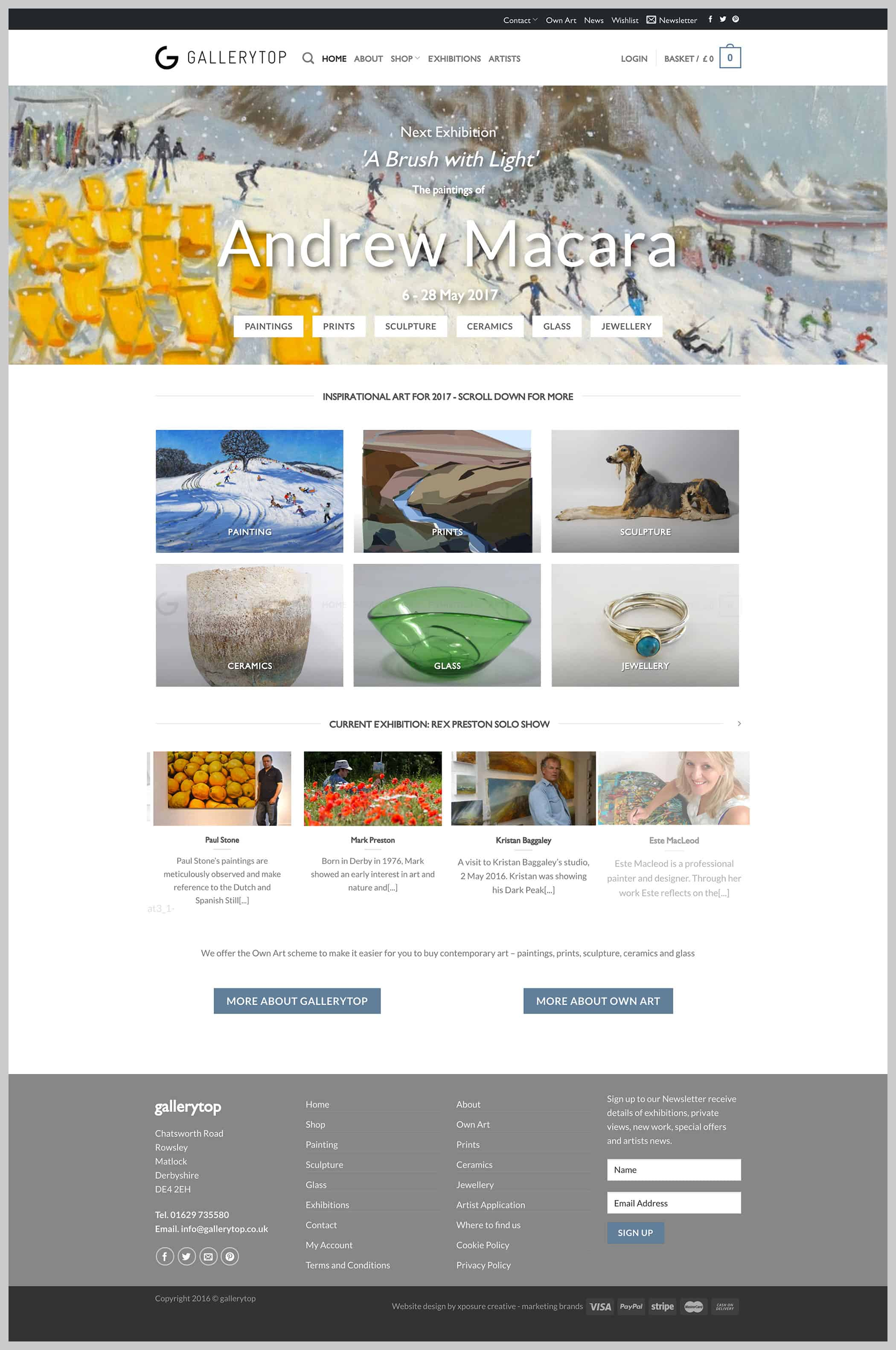 Gallery Top website home page design