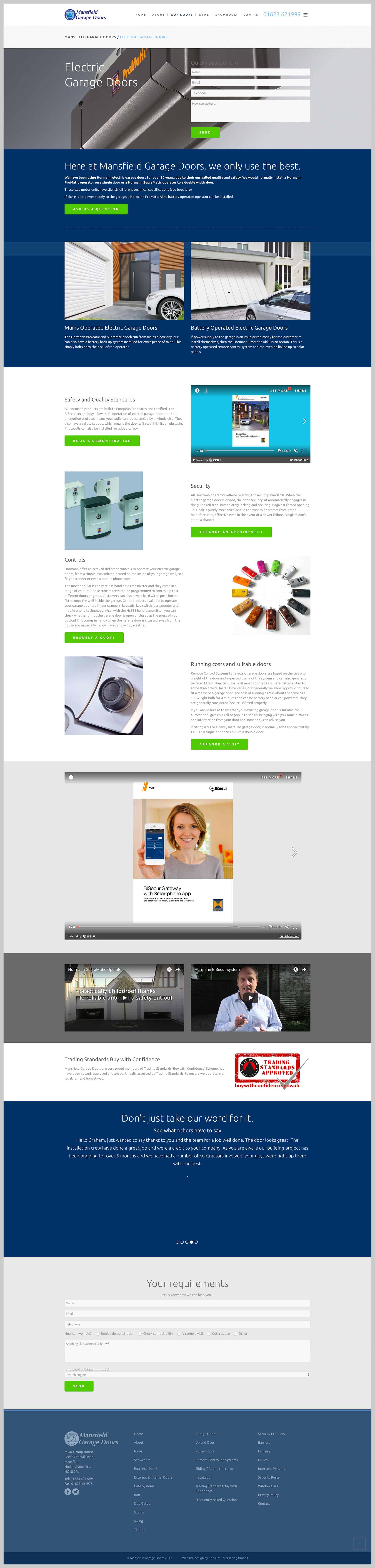 Electric garage doors page design for Mansfield Garage Doors website