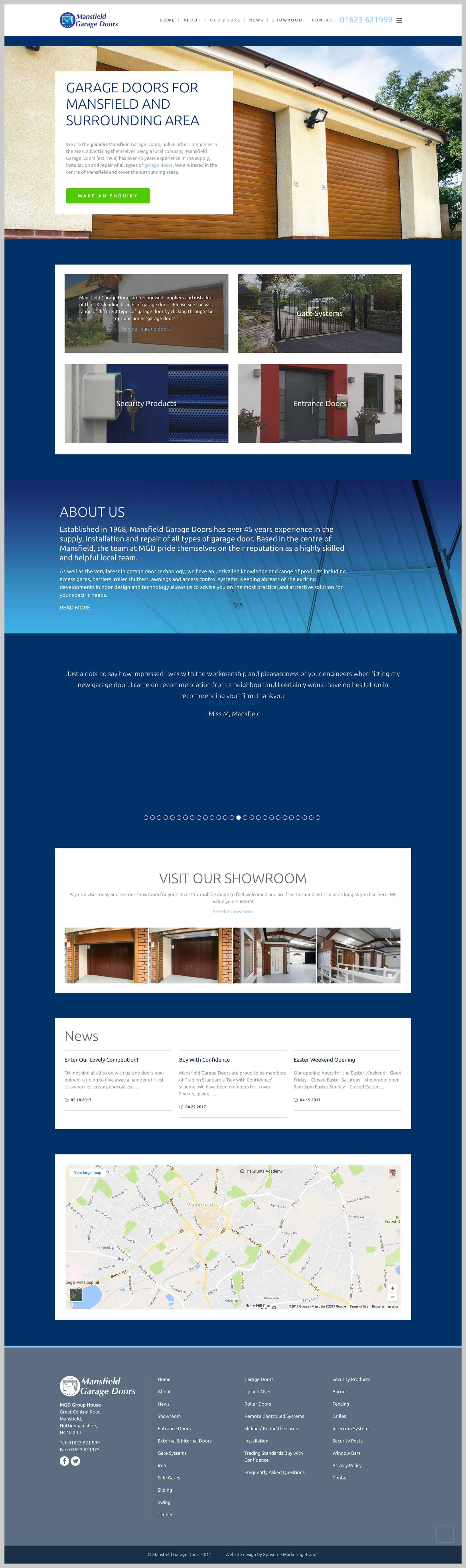 Website homepage design for mansfield garage doors