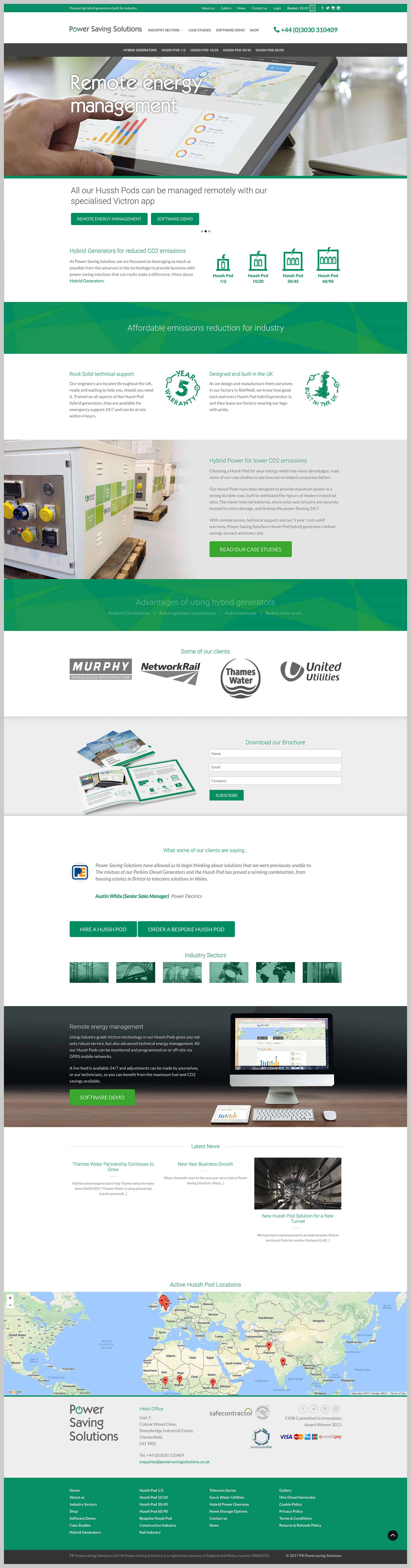 Power Saving Solutions website home page design