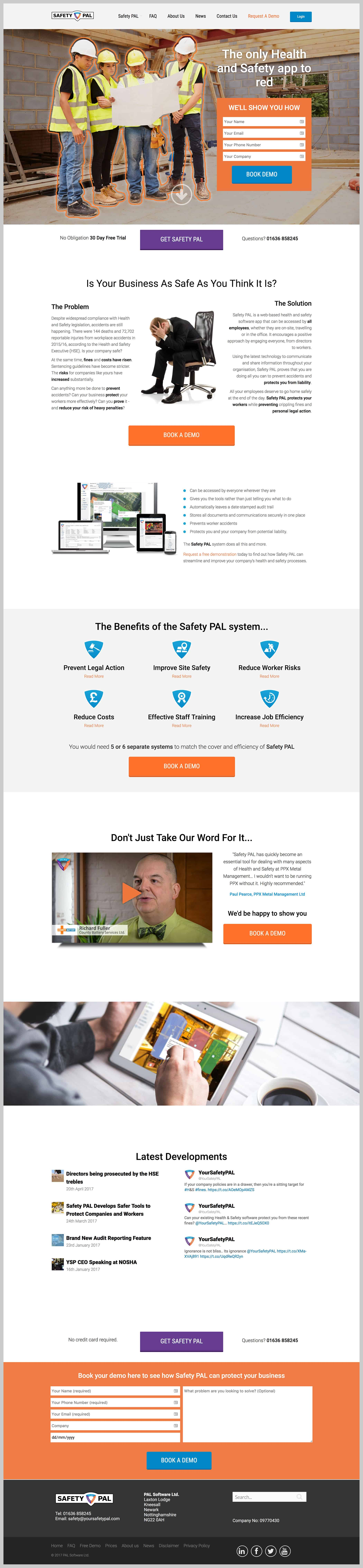 Safety PAL home page website design