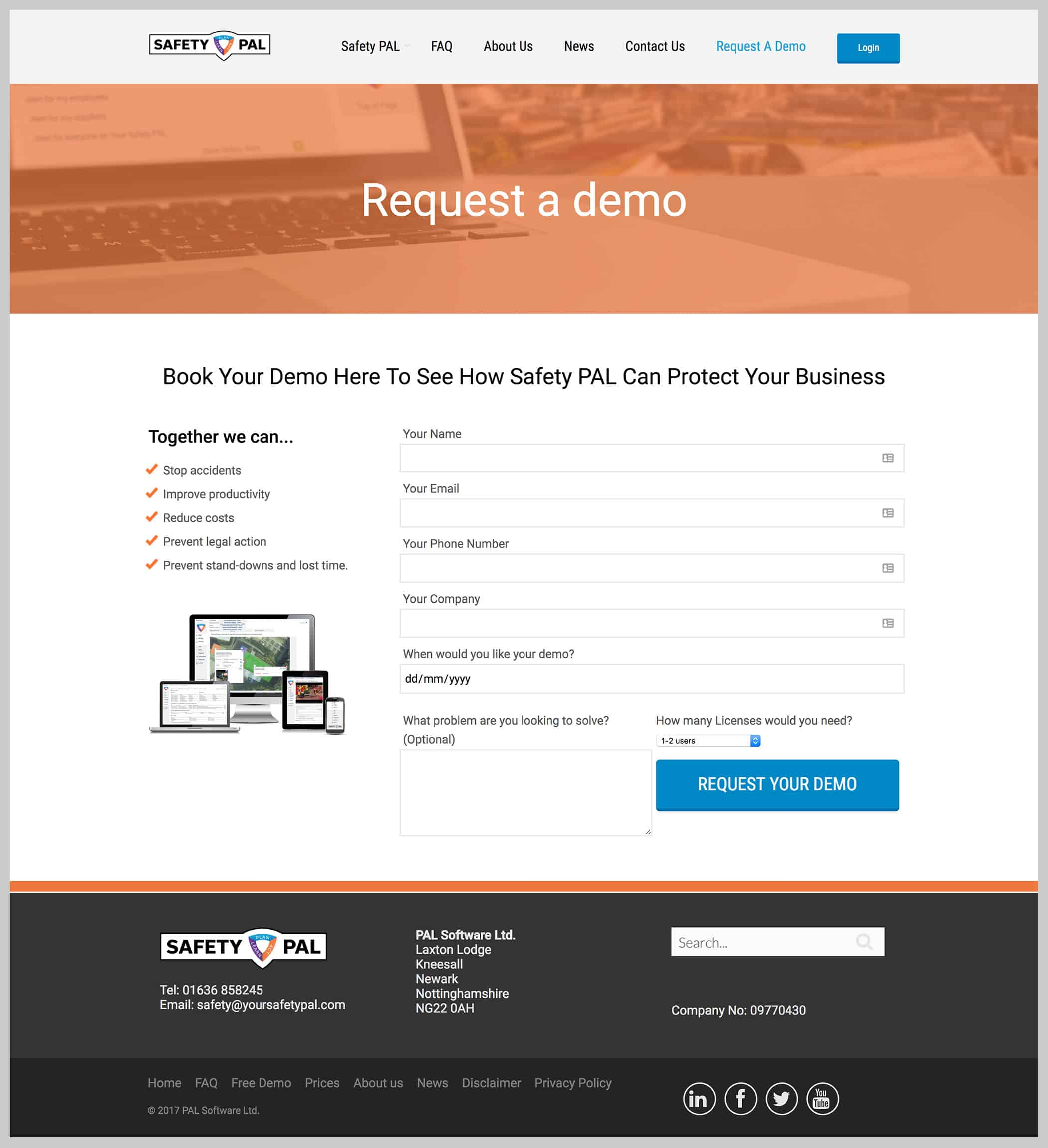 Safety PAL request a demo website page design